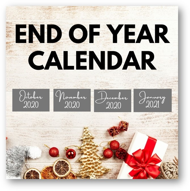 Free Printable End Of Year Calendar October 2020 - January 2021