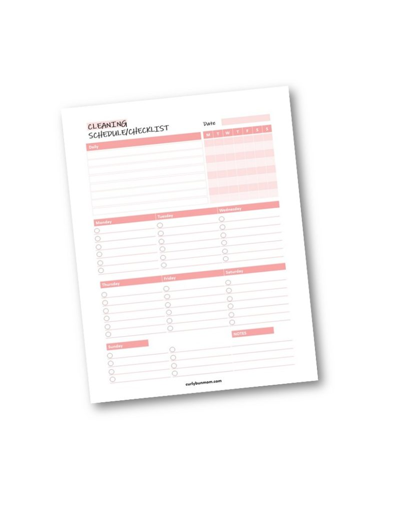 Easy Realistic Mom Cleaning Schedule Routine Checklist PDF Free Printable